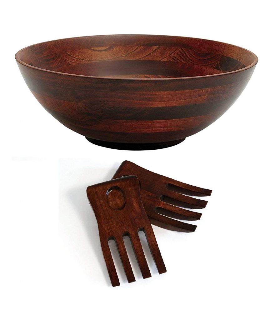 Cherry Finished Footed Wood Serving Bowl